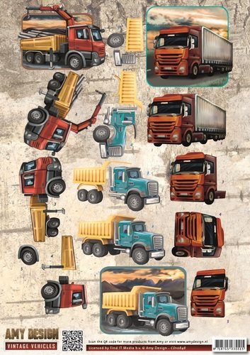 3D Knipvel - Amy Design - Vintage Vehicles - Trucks