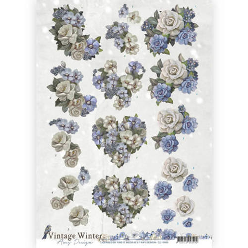 3D knipvel - Amy Design - Vintage winter - Winter Flowers