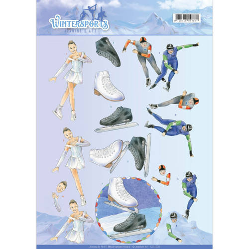 3D Knipvel - Jeanine`s Art - Wintersports - Ice Skating
