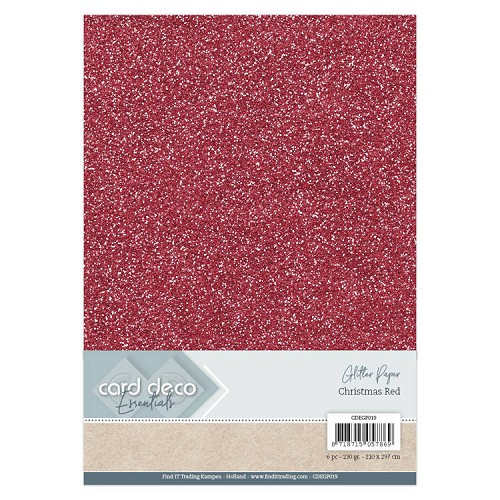 Card Deco Essentials Glitter Paper Christmas Red