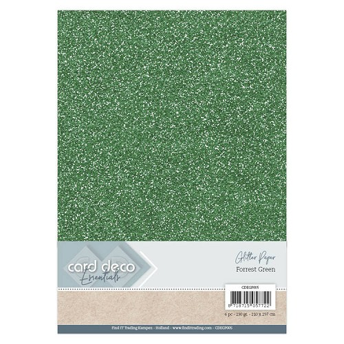 Card Deco Essentials Glitter Paper Forest Green