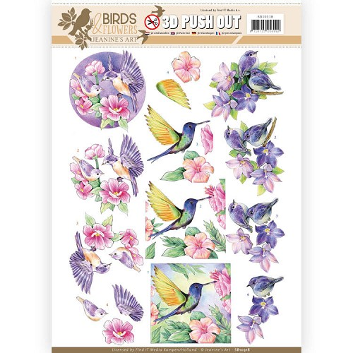 3D Pushout - Jeanine's Art - Birds and Flowers - Tropical birds