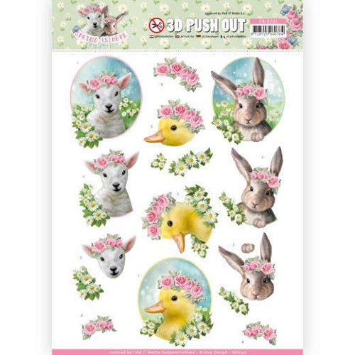 3D Pushout - Amy Design - Spring is Here - Baby Animals