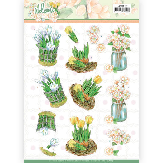 3D cutting sheet - Jeanine's Art  Welcome Spring - Yellow Tulips