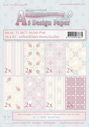 Design papier assortiment stylish pink 16xA5