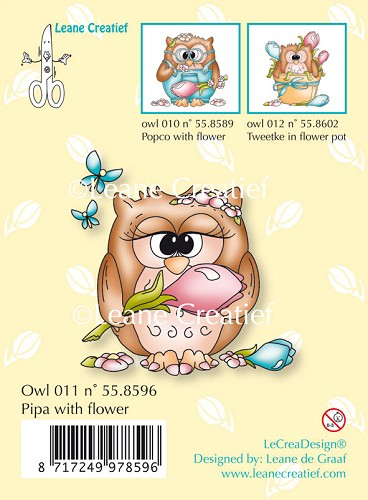 Clear stamp Owl Pipa with flower