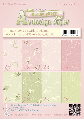 Design papier assortiment swirls & hearts roze/groen 16 x A5
