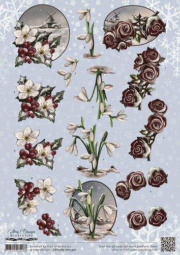 3D Knipvel - Amy Design - Wintertide - Flowers