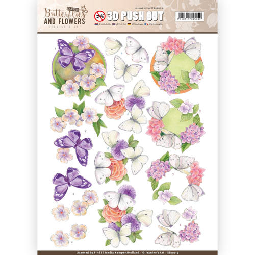 3D Push Out - Jeanine`s Art - Classic Butterflies and Flowers - White Butterflies