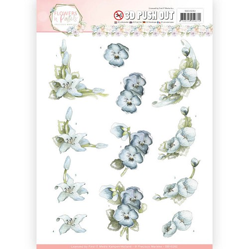 3D Pushout  - Precious Marieke - Flowers in Pastels - True Blue